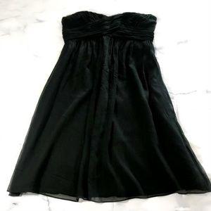 J. Crew Black Flowy Silk Strapless Dress